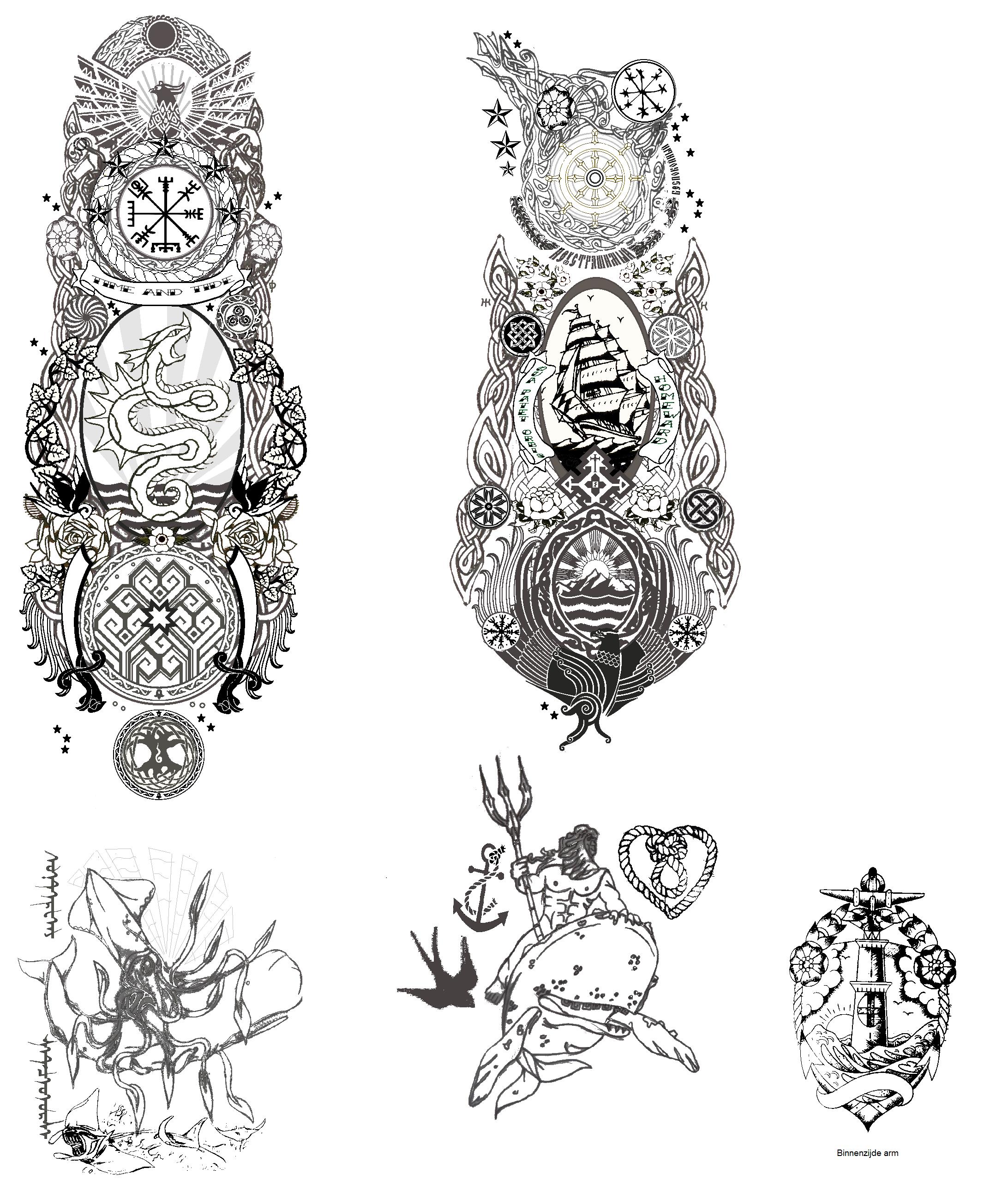 Full Sleeves Sailor Tattoo Designs By Kara Alvama