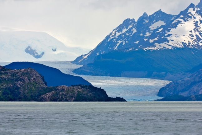 Grey Glacier Feeding Into Lago Grey in Chiles Torres Del Paine National Park www.greenglobaltravel.com #ecotourism #glacier #chile