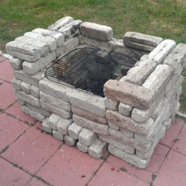 easy fun homemade patio grill yard stones bricks