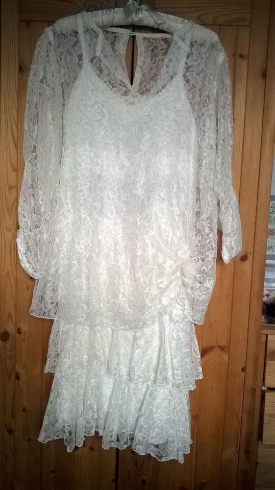 6e12e5c3d3e Size 12 VTG 80s does 20s Ivory Lace Wedding Dress Party Dinner Downton  Gatsby