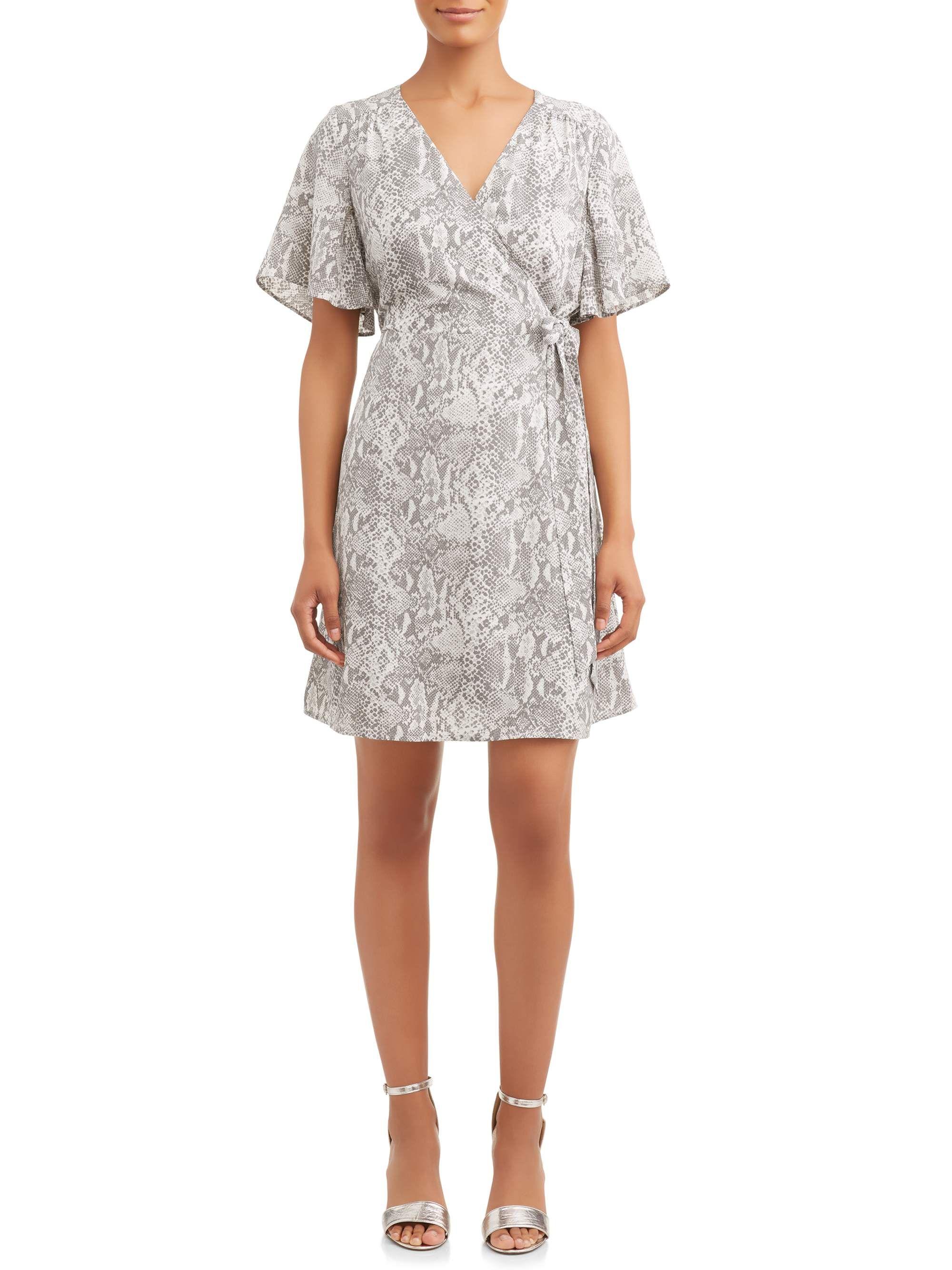 Time And Tru Time And Tru Women S Woven Wrap Dress Walmart Com Wrap Front Dress Wrap Dress Woman Weaving [ 2667 x 2000 Pixel ]