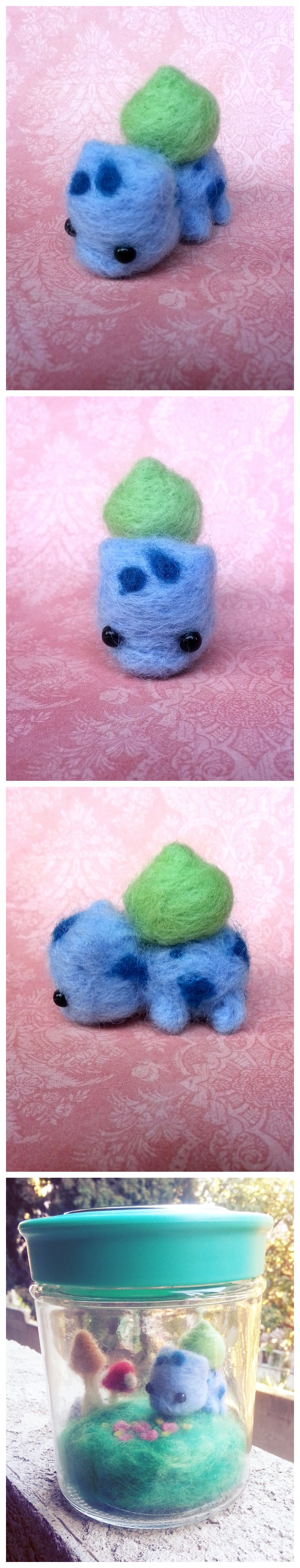 A needle felted Bulbasaur I made for my boyfriend. It's his favorite Pokemon.