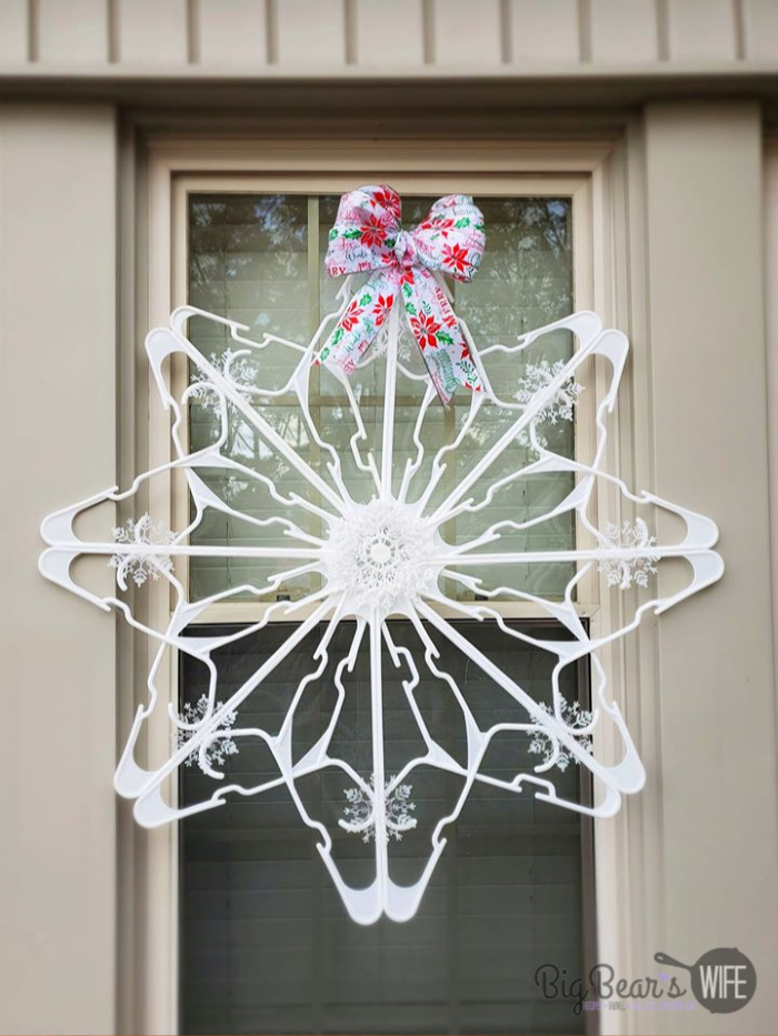 DIY Dollar Tree Snowflake Clothes Hanger Craft Hanger
