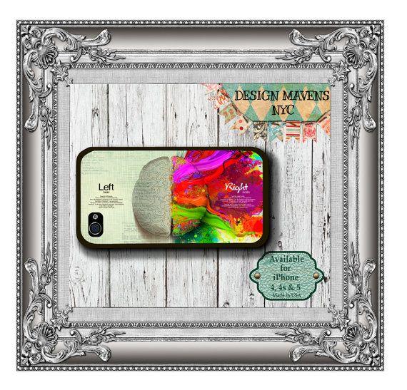 Left Brain iPhone Case Hard Plastic iPhone Case by DesignMavensNYC, $15.99