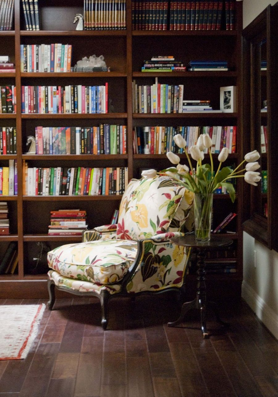 Cool And Trendy Floral Fabric Upholstery Reading Chair With Built In  Bookshelves Cabinetry System As Decorate Contemporary Home Library Interior  Decors