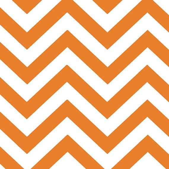 Orange White Chevron Fabric Half Moon Modern Small Zig Zags   My ...