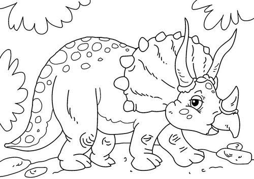Dibujo Para Colorear Dinosaurio Triceratops Fiesta Dinosaurios