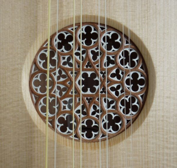 Soundhole rose for a citole, modelled after the rose window at the Burgos Cathedral.