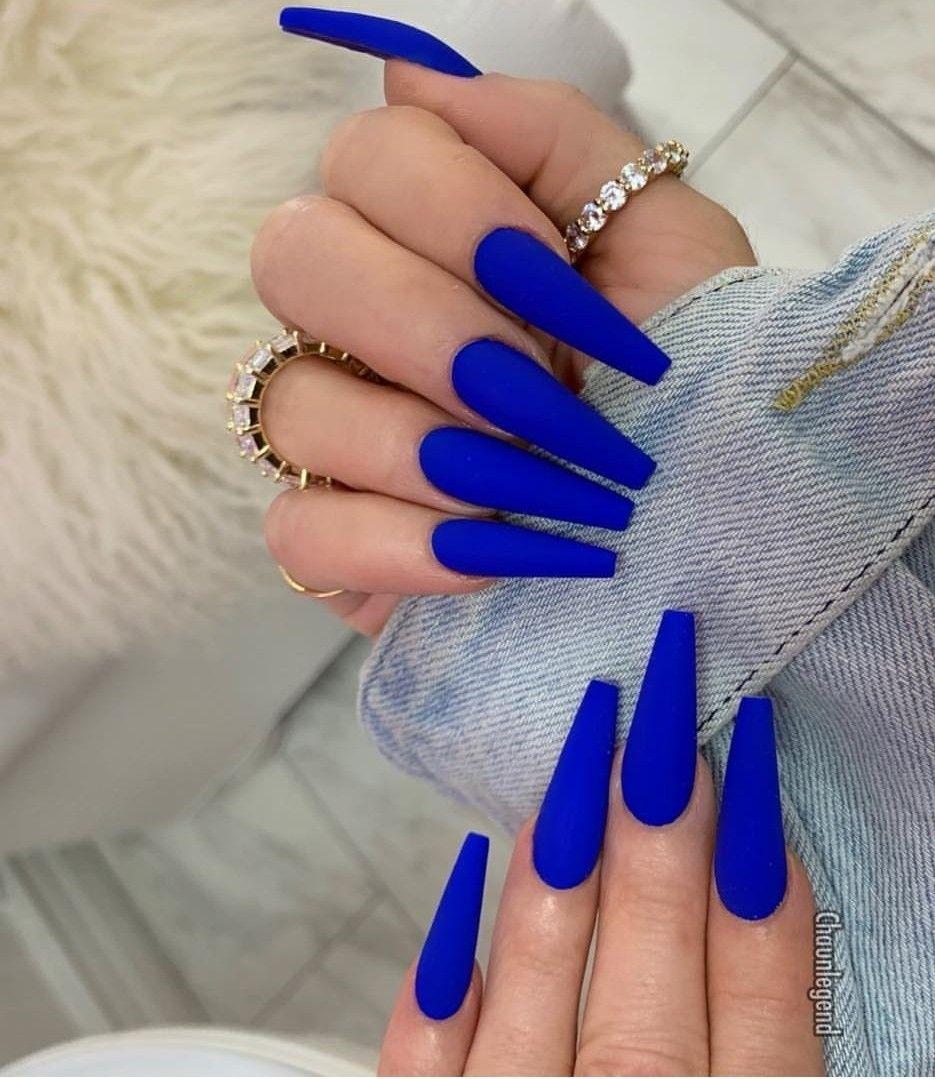 Royal Blue Nail Color Blue Acrylic Nails Blue Coffin Nails Vibrant Nails