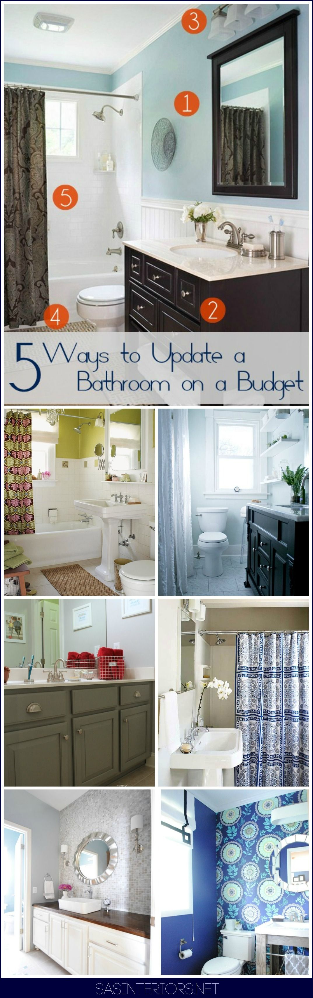 5 Ways to Upgrade a Bathroom on a Budget: Don't neglect a needed bathroom revamp because of cost + no-experience. Instead, embrace what you have and revamp the layers of the existing!
