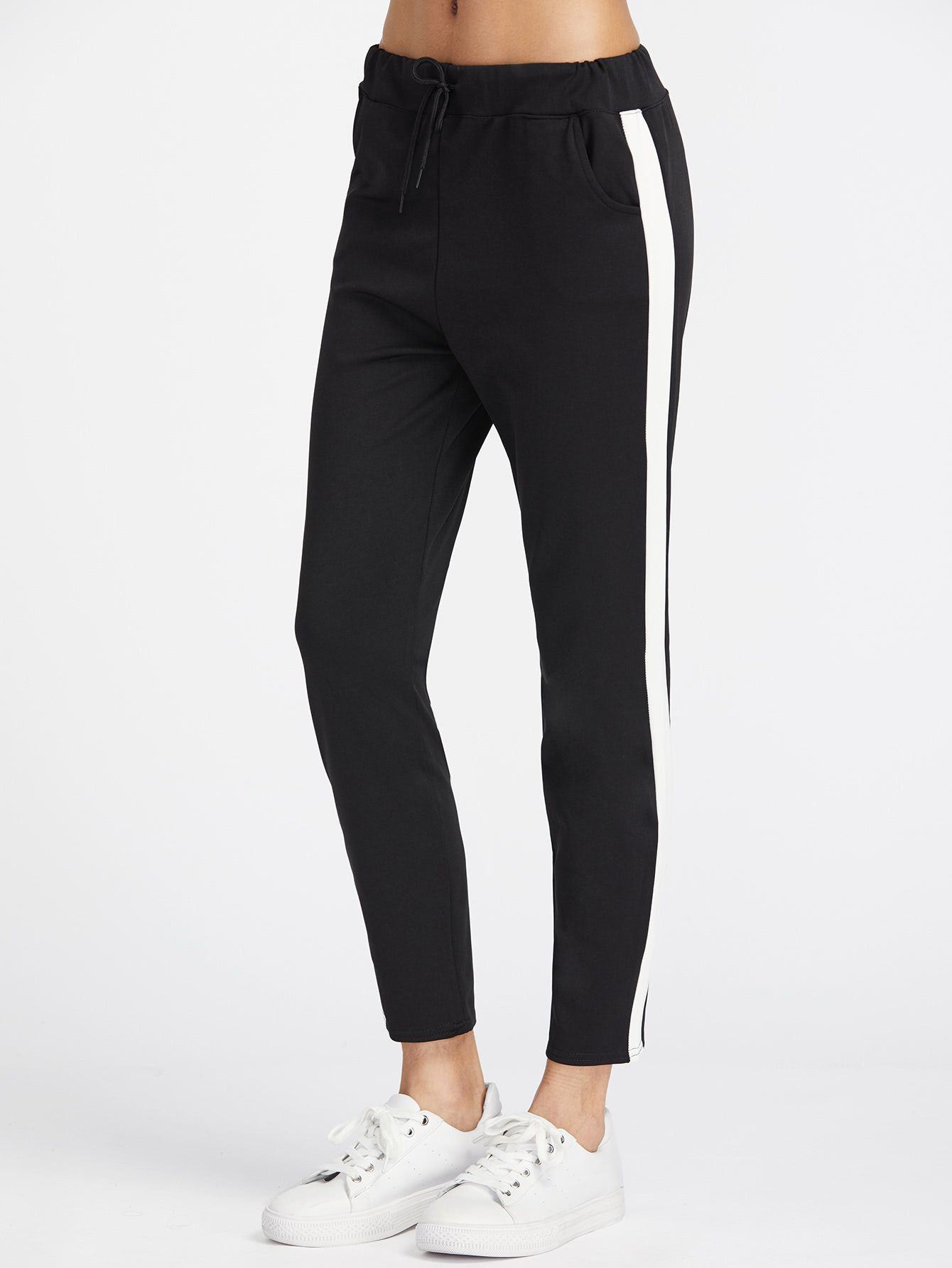 Pantalones con panel y cordón -Spanish SheIn(Sheinside)  e42dc02c4390