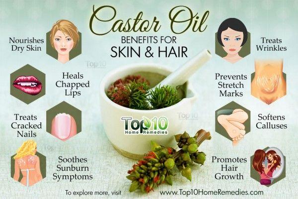 Top 10 Castor Oil Beauty Benefits For Skin And Hair Top 10 Home Remedies Castor Oil Benefits Crepey Skin Castor Oil