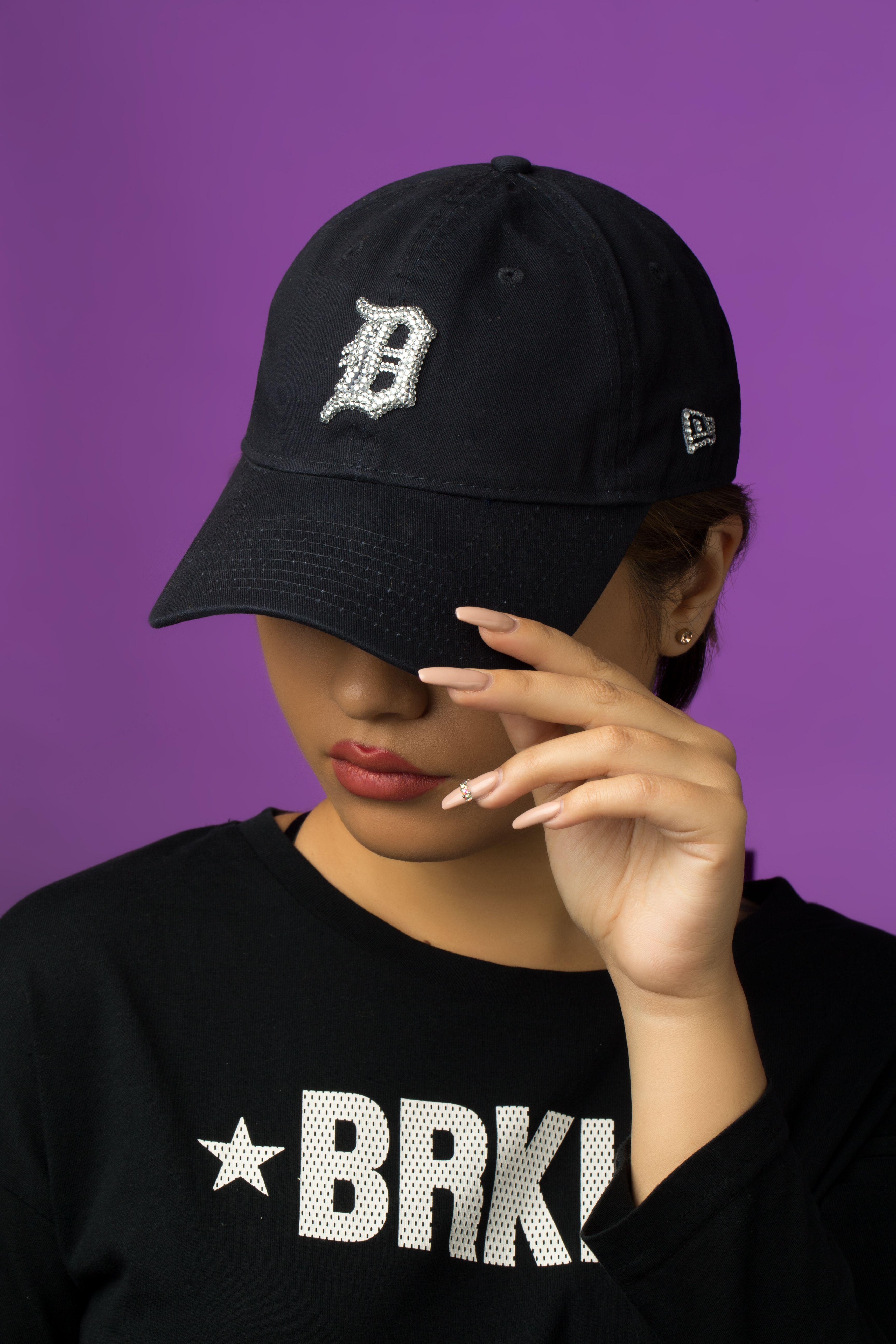 Black bling mlb hat baseball cap women trending now