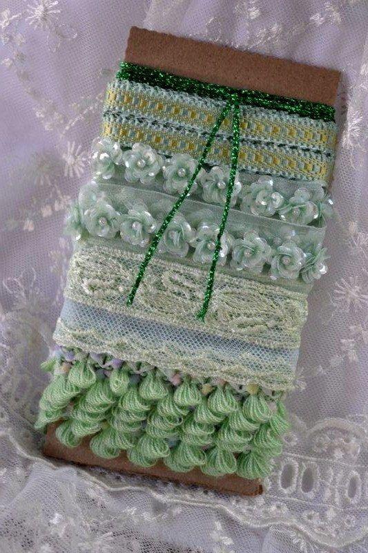 Vintage Ribbon Lace Bundle Mint Aqua Light Green Shabby Chic Ribbon Vintage Ribbon Silk Ribbon Embroidery