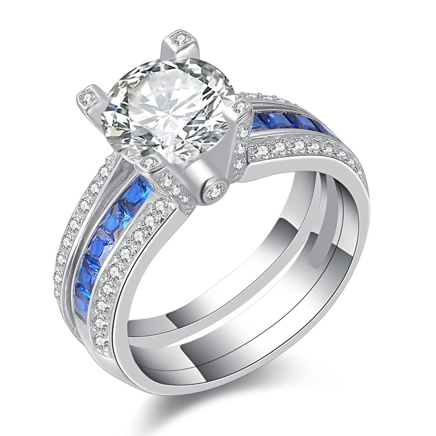 Newshe Jewellery Round Blue Cz 925 Sterling Silver Wedding
