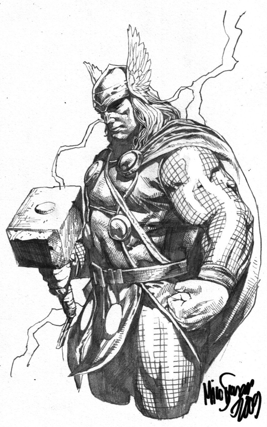 Drawings Of Thor Black And White