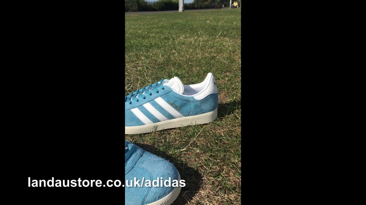 202c12d0734 ADIDAS TRAINERS MENS GAZELLE LIGHT BLUE FOOTWEAR WHITE GOLD METALLIC ...