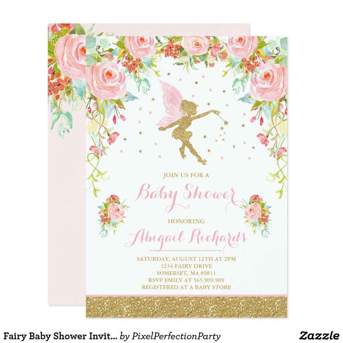 Fairy Baby Shower Invitation Floral Fairy Shower in 2020