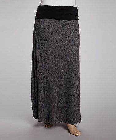 Another great find on #zulily! Charcoal & Black Fold-Over Maxi Skirt  #zulilyfinds
