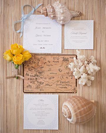 grand cayman island wedding invitation suite featured in Martha Stewart Weddings