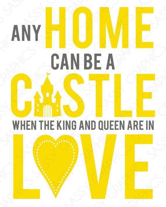 Any Home Can Be A Castle Quote Wall Art Print - Yellow, Gray ...