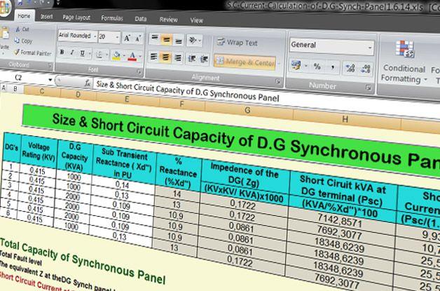 Spreadsheet to Calculate Short Circuit Capacity of Diesel Generator - Spreadsheet Programs