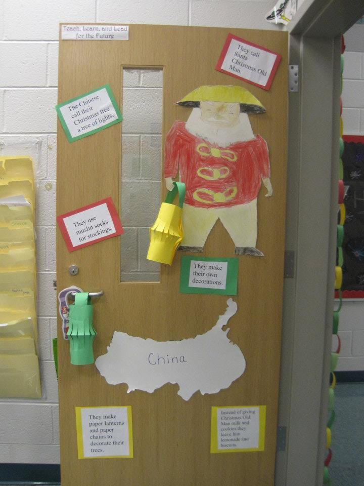 Christmas Around the World: China  Facts on the door - Students drew and typed up facts :)