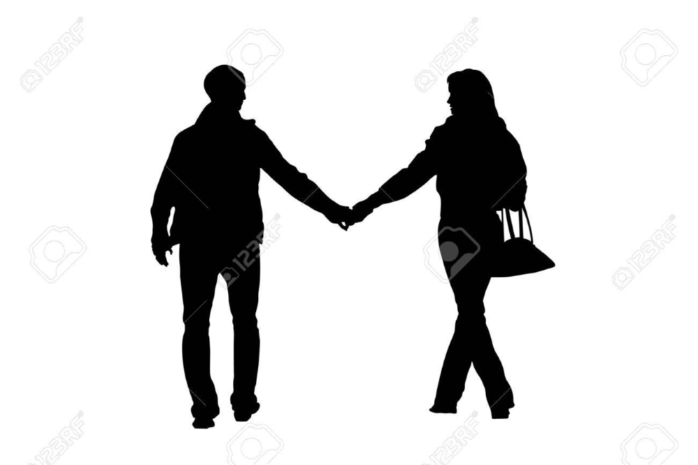 Walking Couple Silhouette With Clipping Path Couple Silhouette Silhouette Image Photography