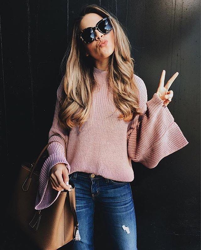 Instagram media by liketoknow.it - Bell sleeved and blush, sweeten up your sweater game to start off the week a la @theteacherdiva | Get ready-to-shop details with www.LIKEtoKNOW.it | http://liketk.it/2qifO #liketkit #LTKunder50