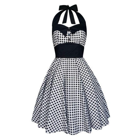 Gingham Dress Plaid Dress Black White Checker Dress Vintage Etsy Checkered Dress Rockabilly Dress Vintage Dresses