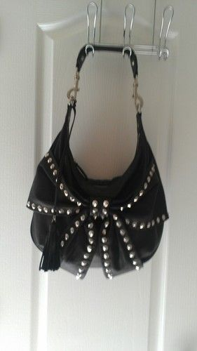 Betsey Johnson Bows And Arrows Black Leather Studded Hobo Bag Gemma Teller Style Hot Outfits