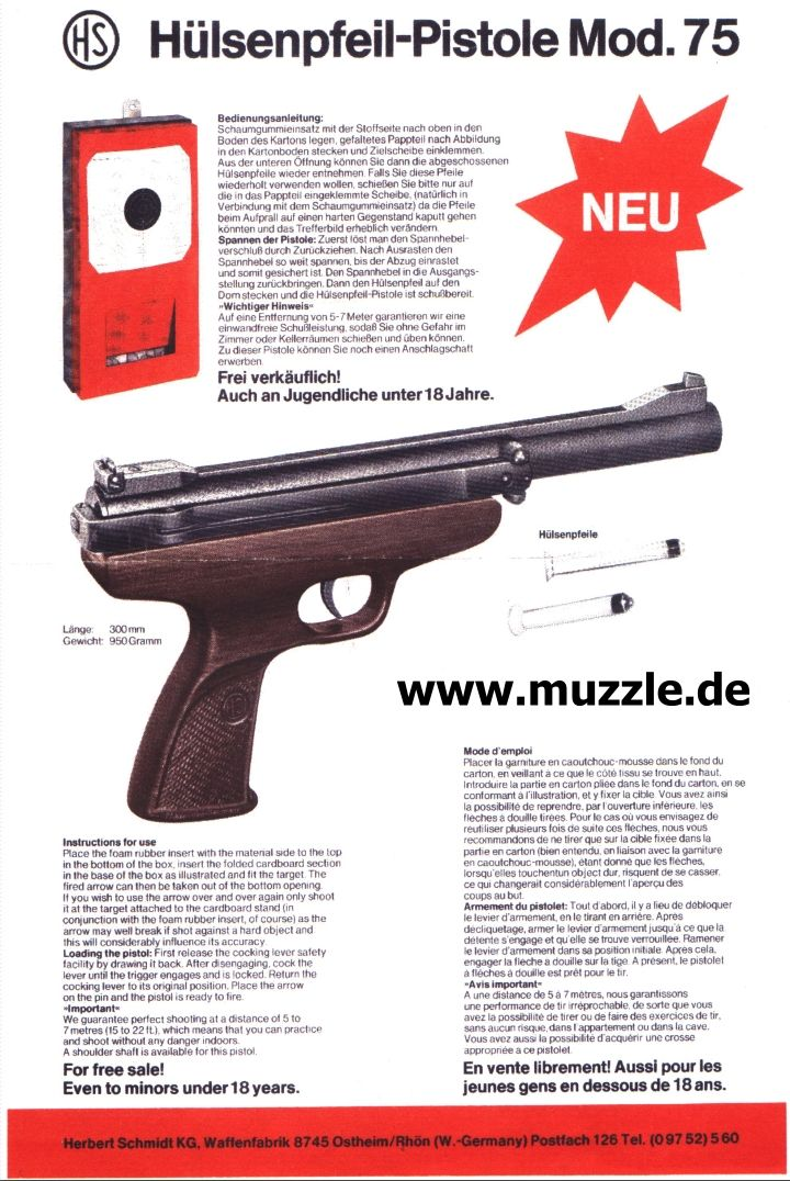 "Hülsenpfeil-Pistole ""HS 75"""