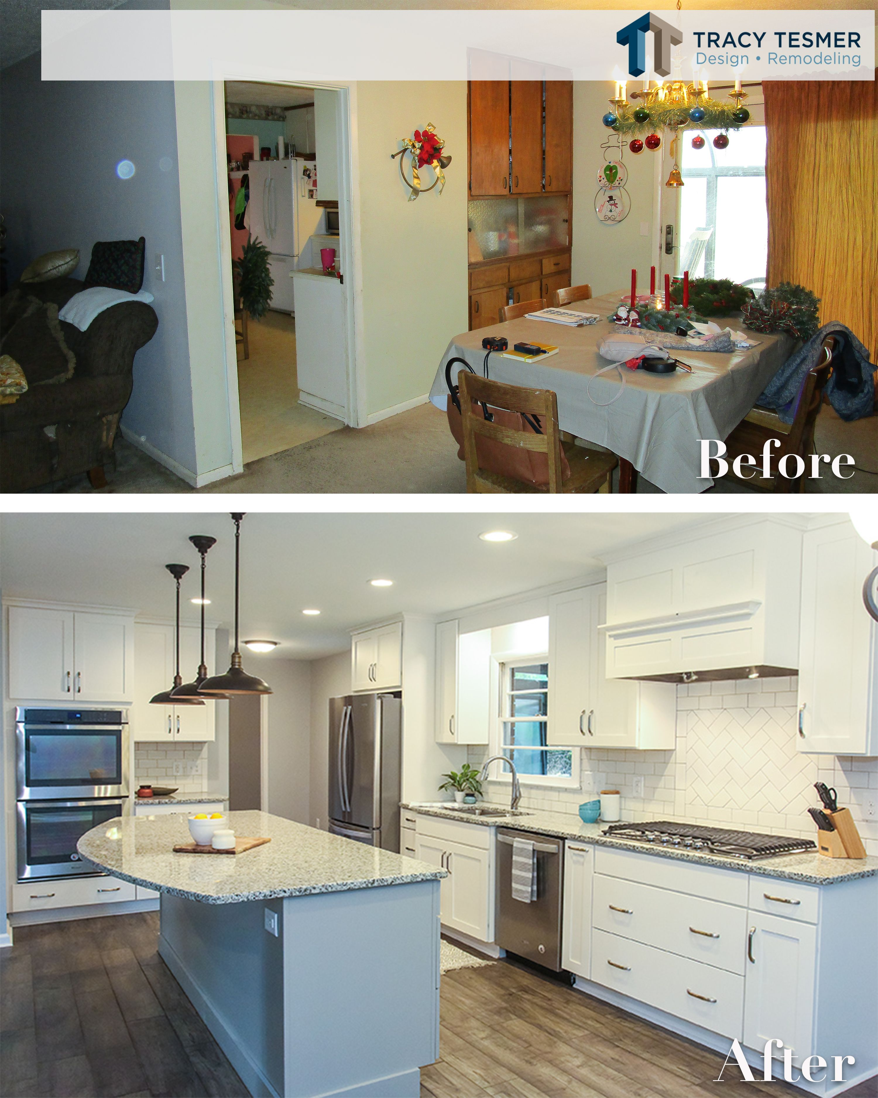 We Love A Good Before And After This Kitchen Had A Few Walls Taken Down Which Added So Much Space A Home Remodeling Contractors Kitchen Design Home Remodeling