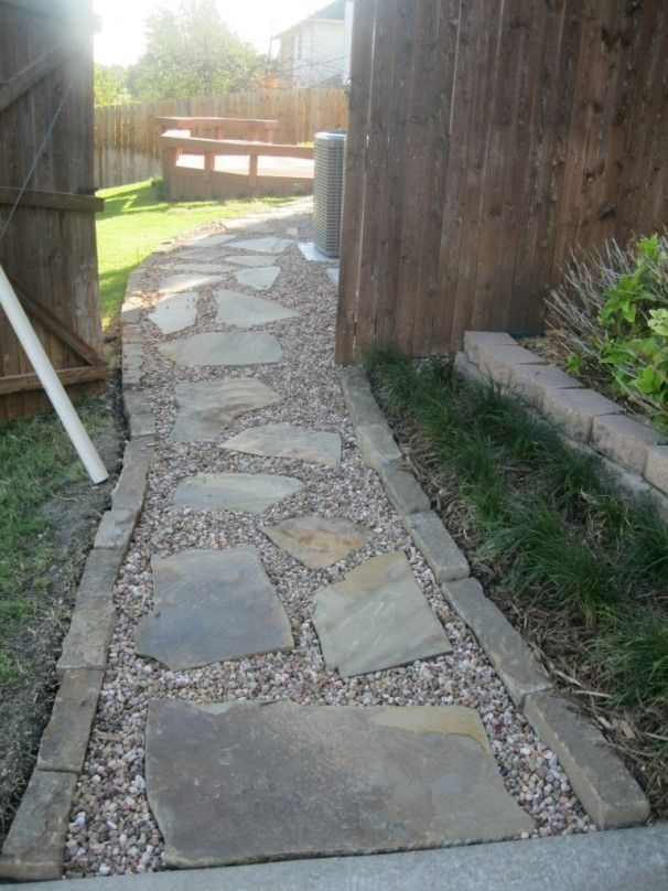 Flagstone Path In Gravel Stone Walkways Are A Great Solution For Uneven Yards Or Areas With Pathway Landscaping Backyard Walkway Walkways Paths