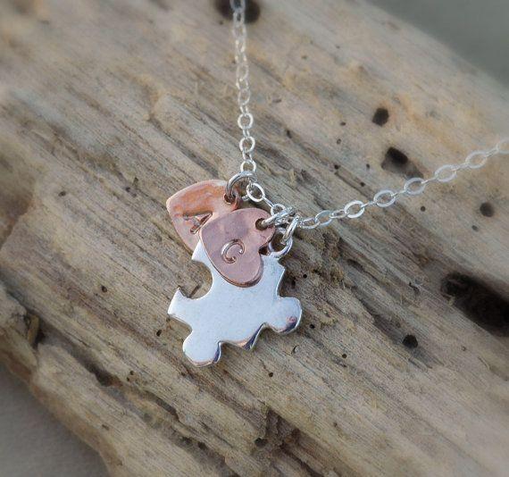Autism Awareness Puzzle Piece Pendant Autism Necklace Personalize Initial charm