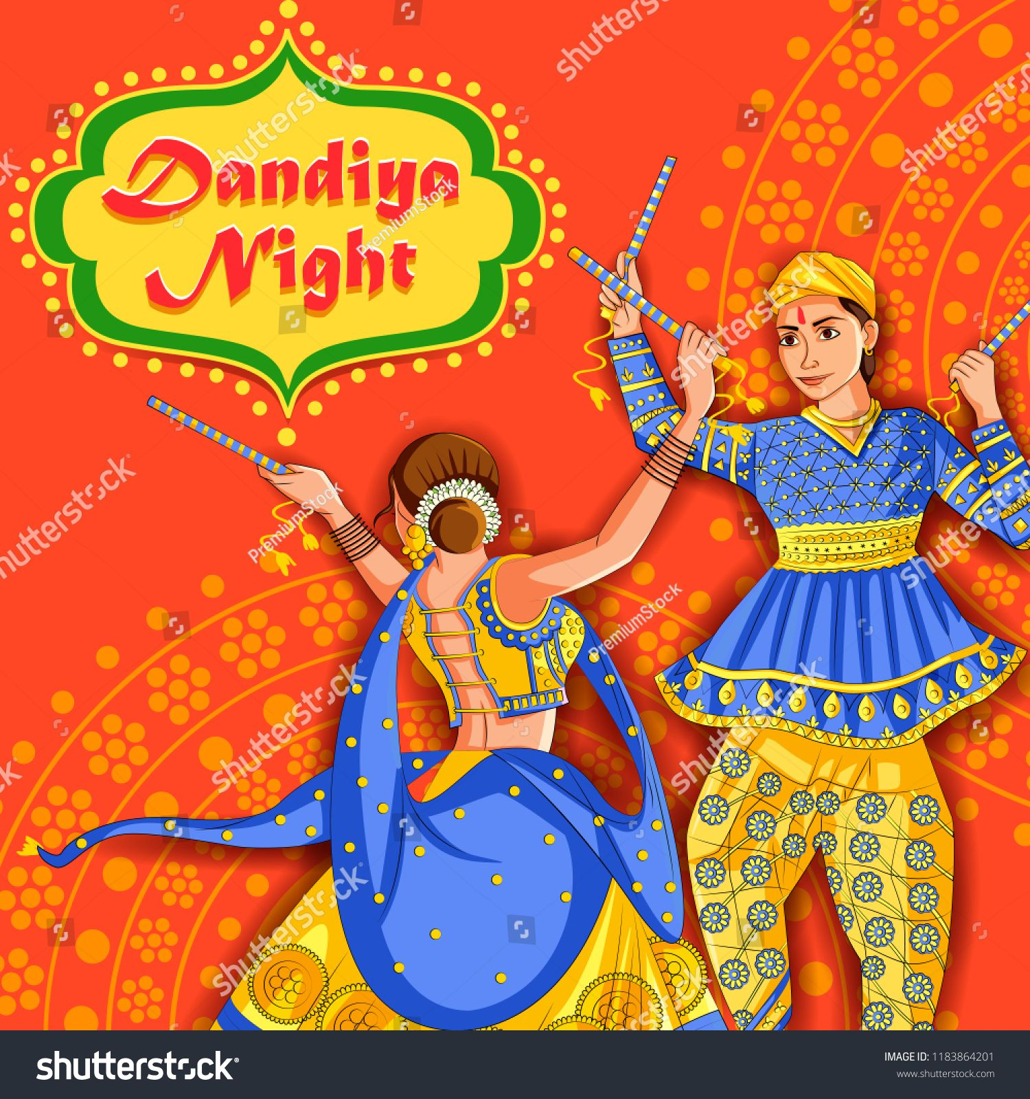 Vector design of Indian couple playing Garba in Dandiya