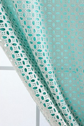 This Is An Idea To Make Curtains Double Layered With Solid Fabric Behind And Eyelet Or Other See Through Translucent Fabric On Top Curtains Colorful Curtains Aqua Curtains