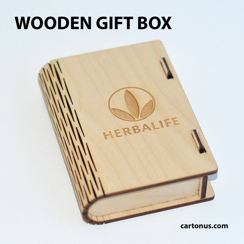 Gift wooden box with locking mechanism - sliding bolt latch. Created for Herbalife.
