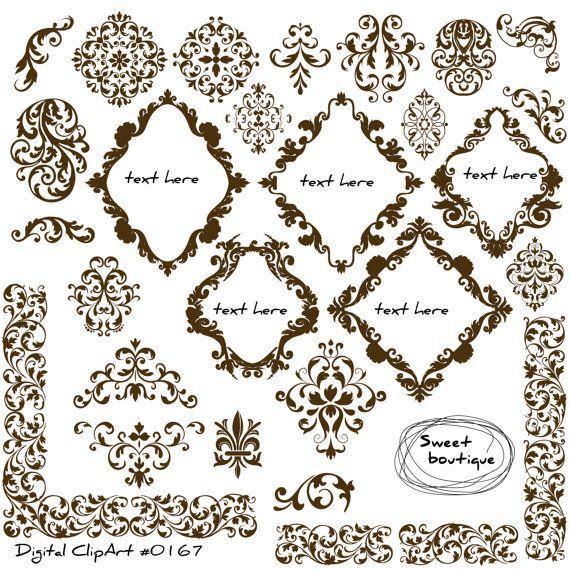 Damask Digital Frames Scrapbook Border Clipart Frame Flourish Etsy Wedding Card Design Wedding Cards Digital Frame