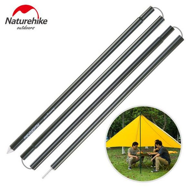 Naturehike 2 Pcs 4 Sections Pole Reinforced Aluminium Alloy Camping Awning Rods Tent Pole Outdoor Sun Shade She Camping Canopy Outdoor Awnings Tent Accessories