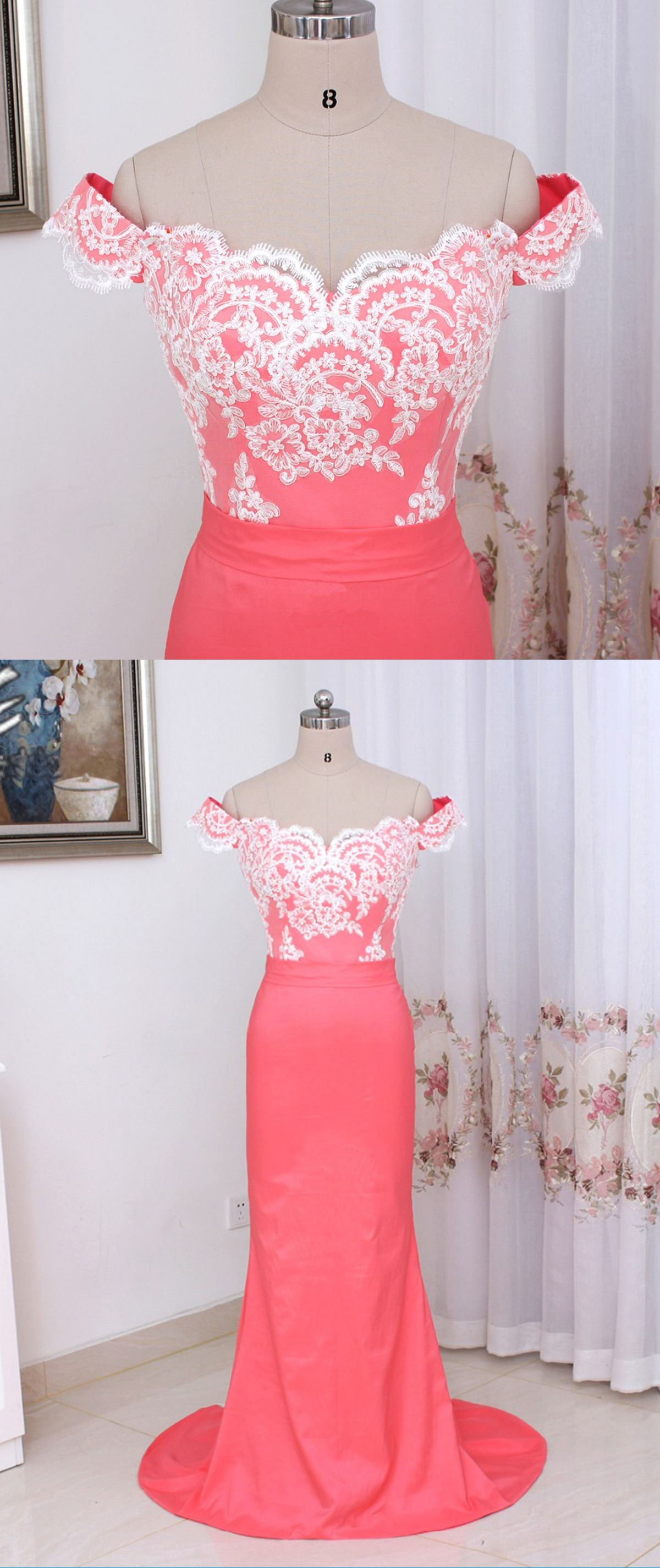 Coral satin off shoulder long mermaid prom dress white lace evening