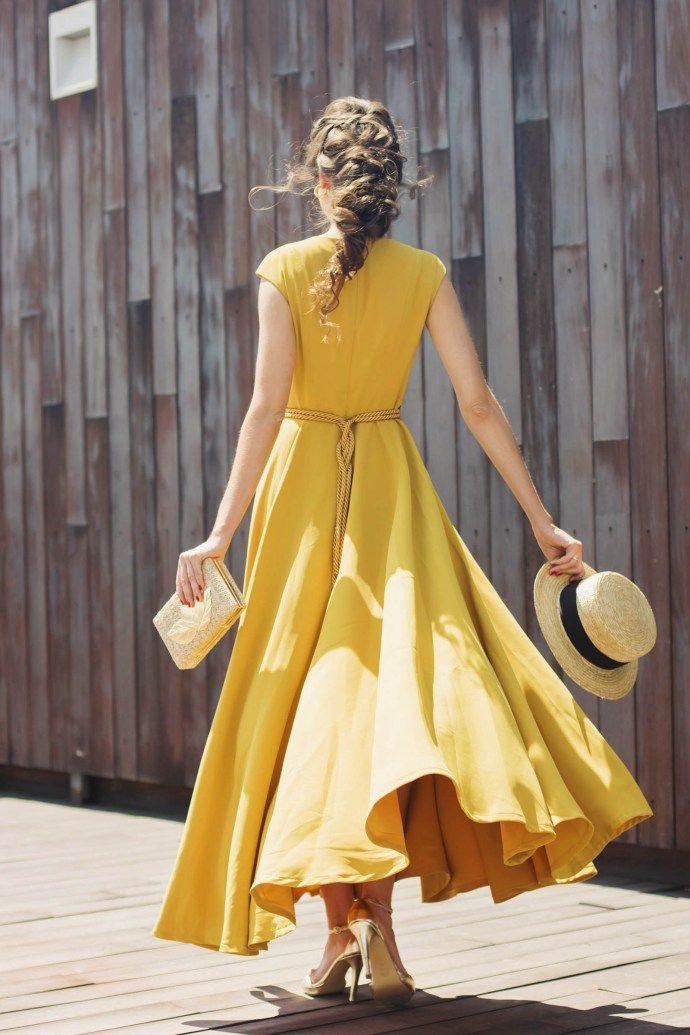 6e83c83e4 Look invitada boda vestido midi mostaza falda vuelo Patrones De Falda  Larga