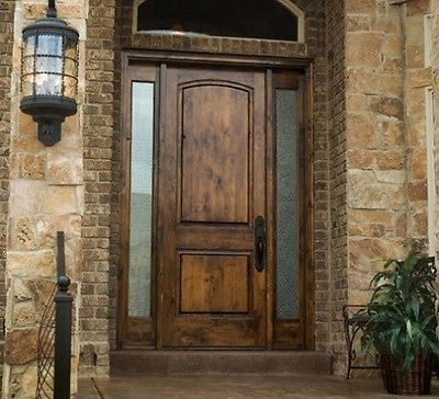Front entry door with 2 sidelights tuscany rustic for Solid core exterior door