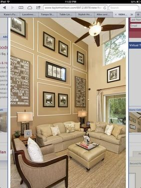 Decorating a two story room houzz dream home family - How to decorate tall walls ...
