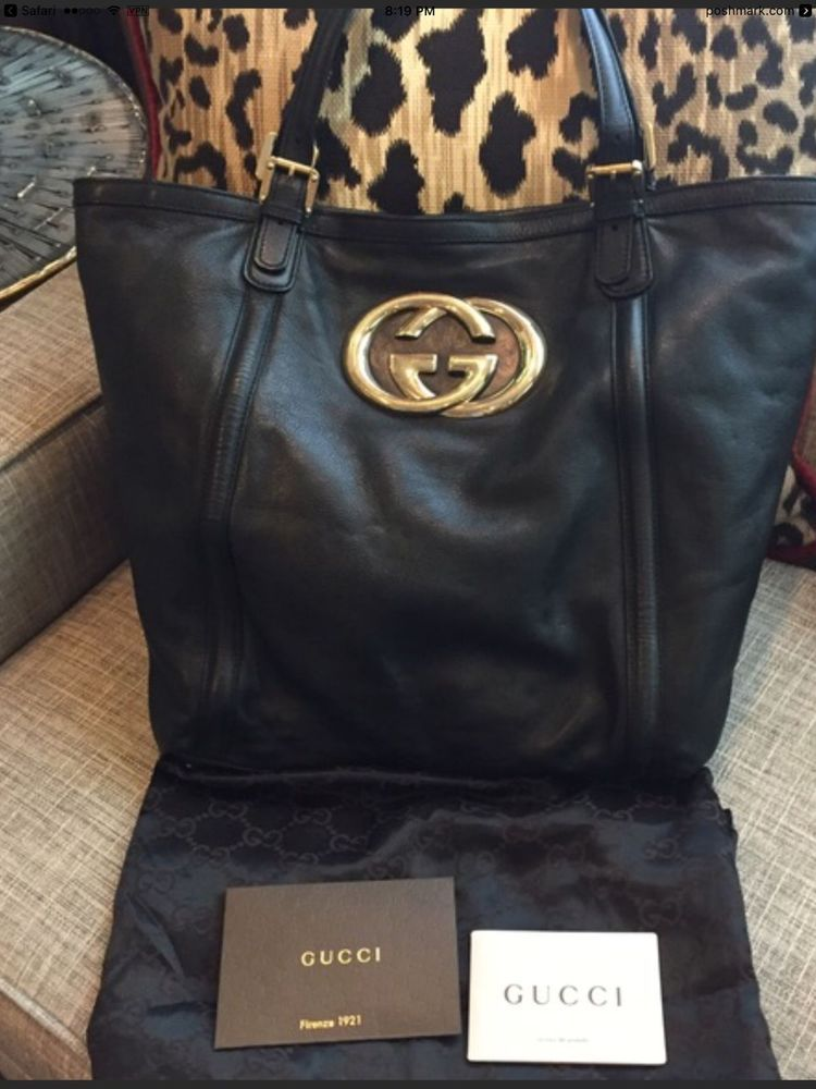 f4885c824240 AUTHENTIC Gucci Britt Black Leather Large Britt GG Hobo Shoulder Bag XL # Gucci #ShoulderBag
