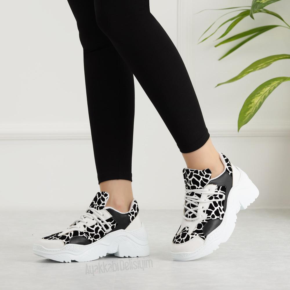 Gustav Zebra Desenli Siyah Beyaz Yuksek Tabanli Kadin Spor Ayakkabi Ayakkabilar Siyah Spor Ayakkabi Kadin