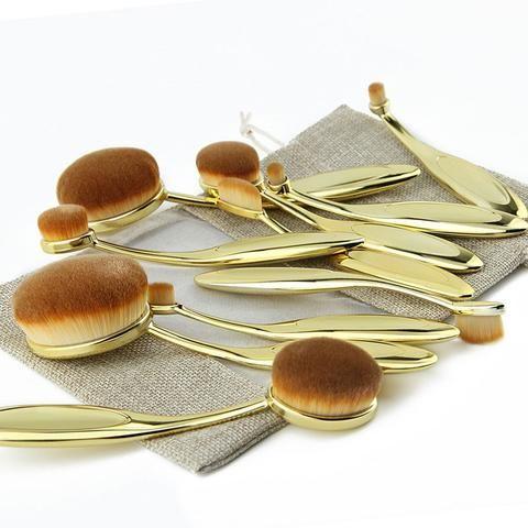 10 piece professional gold oval brush set  oval brush set