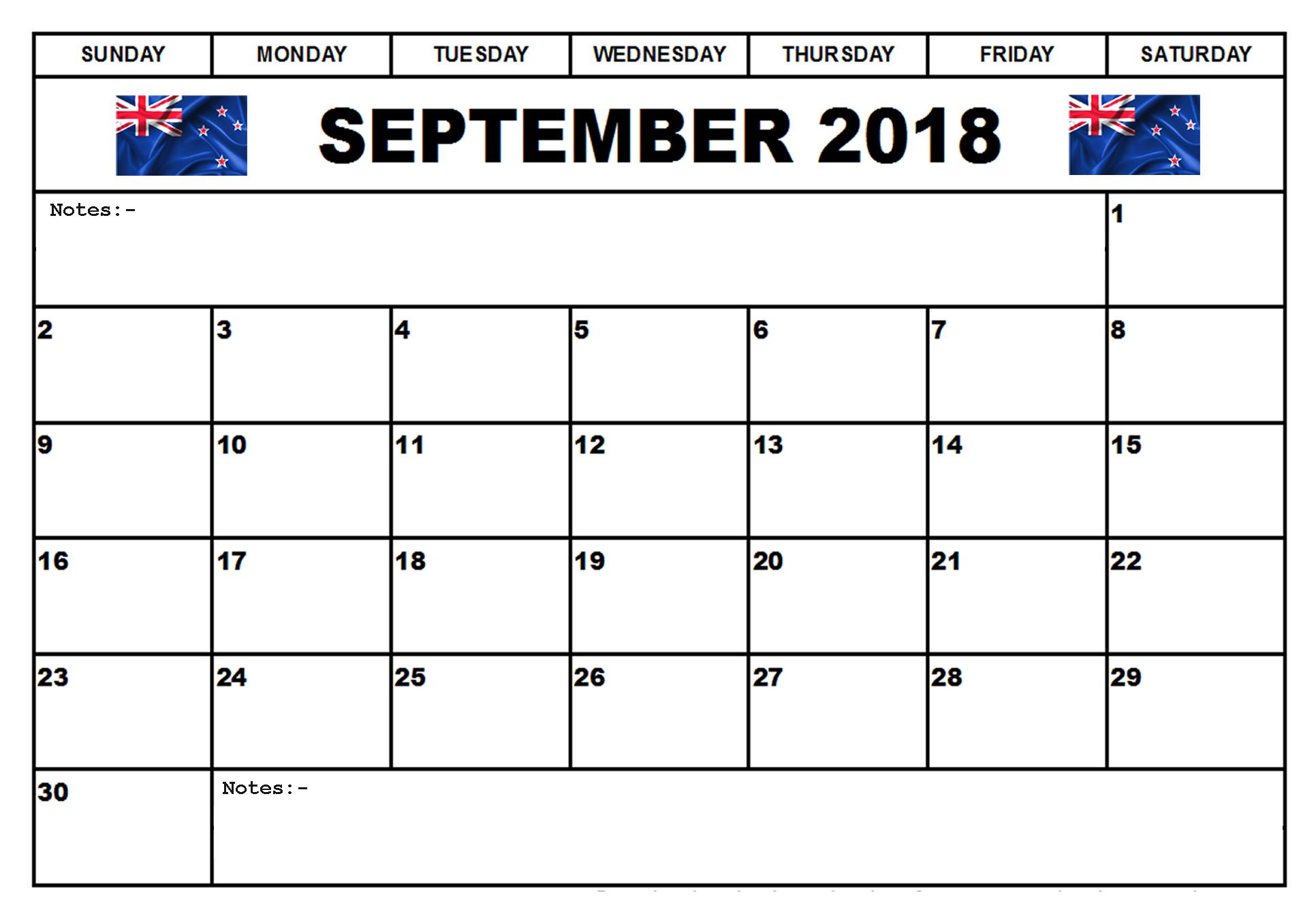 september 2018 calendar new zealand