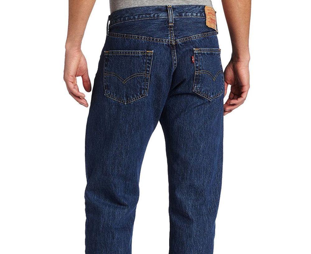 Levis 501 Original Fit Jeans Mens 36 x 38 Dark Stonewash ...