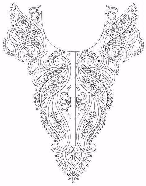 Схемы вышивки горловины платья